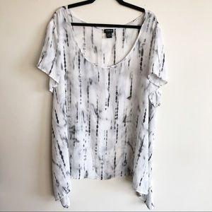 Torrid Tie Dye Georgette Sharkbite Top White 4X